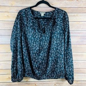 Lucky Brand V-Neck Long Sleeve Blouse